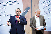 Jeremy Corbyn MP, Leader of the Labour Party, Tom Watson MP, Deputy Leader of the Labour Party and Angela Eagle MP, Shadow First Secretary of State and Shadow Secretary of State for Business, Innovation and Skills unveil a new poster from the Labour In for Britain campaign to Remain in the EU.<br /> 7th June 2016.<br /> Southbank, London, Great Britain <br /> <br /> <br /> <br /> Jeremy Corbyn <br /> Tom Watson <br /> <br /> <br /> <br /> Photograph by Elliott Franks <br /> Image licensed to Elliott Franks Photography Services