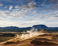 Námafjall mountain, south of Námaskarð, with geothermal heat all over the east side of the mountain. Sulphur was mined here for centuries from the Hlíðarnámur mines and exported.