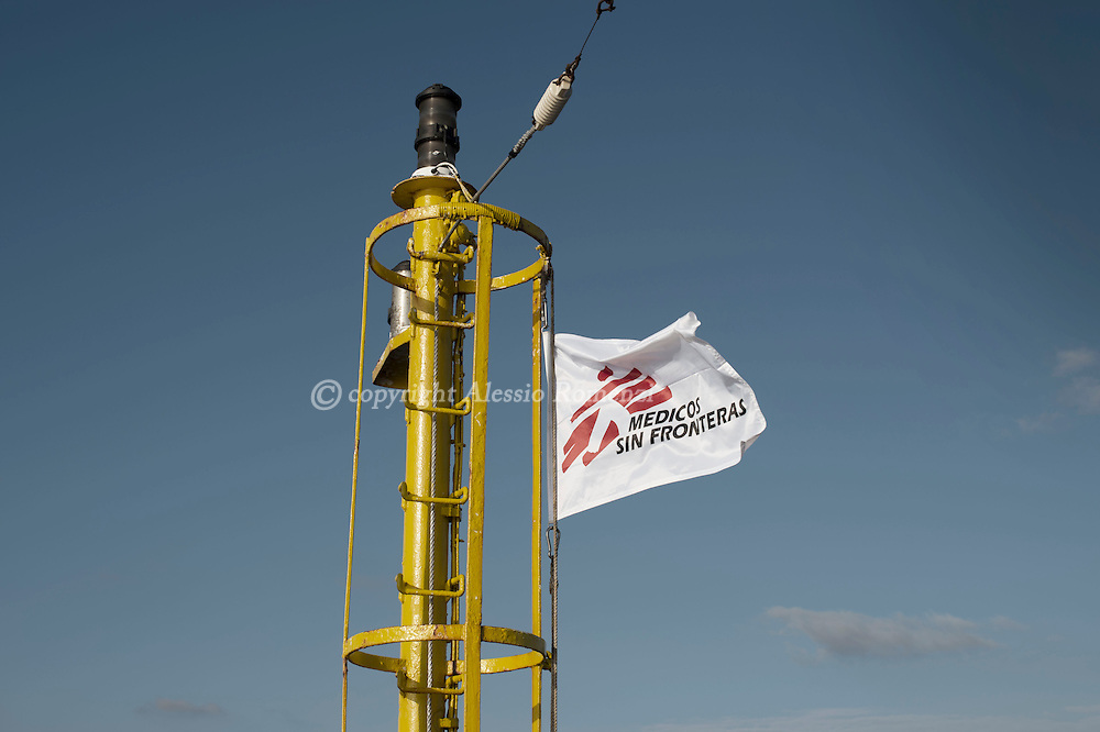 Italy: MSF Dignity1: Medicos Sin Fronteras flag on the Dignity1 on August 23, 2015. Alessio Romenzi