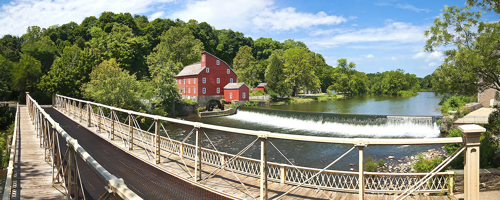 Clinton's Red Mill and Bridge in Summer