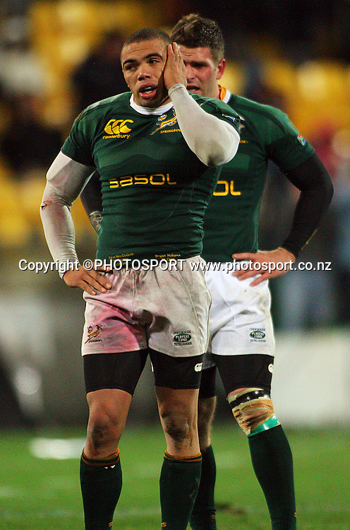 Bryan Habana and Luke Watson reflect on the loss.<br /> Philips Tri Nations, All Blacks vs South Africa at Westpac Stadium, Wellington, New Zealand, Saturday 5 July 2008. Photo: Dave Lintott/PHOTOSPORT