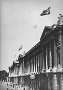 World War 2: Occupation of Paris by German invaders. The Nazi flag flying over the Ministry of the Marine building, Place de la Concorde, July 1940.
