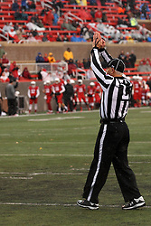 31 October 2015:  Line Judge Denis Schinderl signals a Safety and 2 points are awarded the Redbirds during the NCAA FCS Football between Indiana State Sycamores and Illinois State Redbirds at Hancock Stadium in Normal IL (Photo by Alan Look)