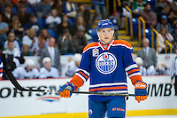 KELOWNA, CANADA - OCTOBER 2: Matt Benning #83 of the Edmonton Oilers stands on the ice against Los Angeles Kings on October 2, 2016 at Kal Tire Place in Vernon, British Columbia, Canada.  (Photo by Marissa Baecker/Shoot the Breeze)  *** Local Caption *** Matt Benning;