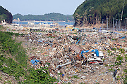 Photo shows the Shizugawa district of Minami Sanriku 10 weeks after the  March 11 tsunamis washed through the coastal community in Miyagi Prefecture, Japan on 24 May, 2011.  Photographer: Robert Gilhooly