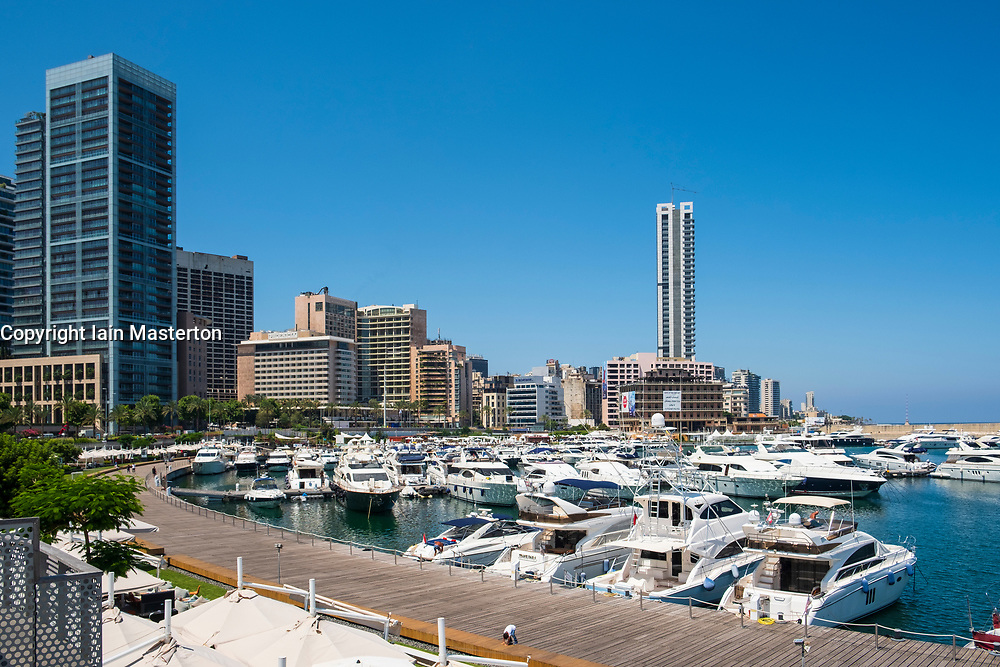 Modern new harbour and marina development at Zaitunay Bay in Beirut, Lebanon
