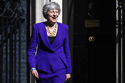 © Licensed to London News Pictures. 02/05/2019. London, UK. Prime Minister Theresa May leaves 10 Downing Street to greet Icelandic Prime Minister Katrín Jakobsdóttir. Photo credit: Rob Pinney/LNP