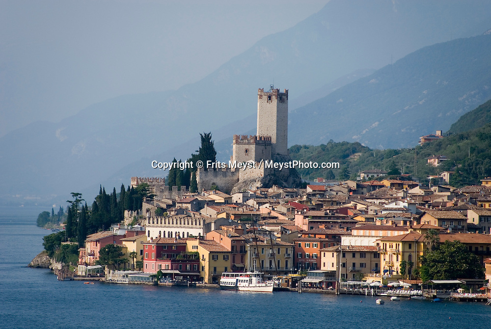 Malcezine, Lago di Garda, Italy, May 2009. The walled medieval town of Malcezine, with its historical center, marina and castle.The northern part of the lake area is loved by sportive people, while the south is known for its relxed atmosphere. Photo by Frits Meyst/Adventure4ever.com