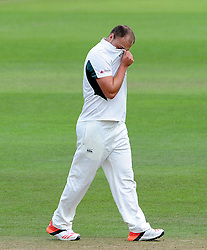 Dejection for Worcestershire's Joe Leach. - Photo mandatory by-line: Harry Trump/JMP - Mobile: 07966 386802 - 21/08/15 - SPORT - CRICKET - LV County Championship Division One - Day One - Somerset v Worcestershire - The County Ground, Taunton, England.
