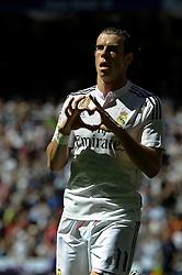 05.04.2015, Estadio Santiago Bernabeu, Madrid, ESP, Primera Division, Real Madrid vs FC Granada, 29. Runde, im Bild Real Madrid´s Gareth Bale celebrates a goal // during the Spanish Primera Division 29th round match between Real Madrid CF and FC Granada at the Estadio Santiago Bernabeu in Madrid, Spain on 2015/04/05. EXPA Pictures © 2015, PhotoCredit: EXPA/ Alterphotos/ Luis Fernandez<br /> <br /> *****ATTENTION - OUT of ESP, SUI*****