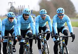 March 30, 2018 - Oudenaarde, Belgique - Oudenaarde, Belgium - March 30 : DE VREESE Laurens (BEL) Rider of ASTANA PRO TEAM, VALGREN ANDERSEN Michael (DEN)  of Astana Pro Team during a training session prior to the Flanders Classics UCI WorldTour 102nd Ronde van Vlaanderen cycling race with start in Antwerpen and finish in Oudenaarde on March 30, 2018 in Oudenaarde, Belgium 30/03/2018 (Credit Image: © Panoramic via ZUMA Press)