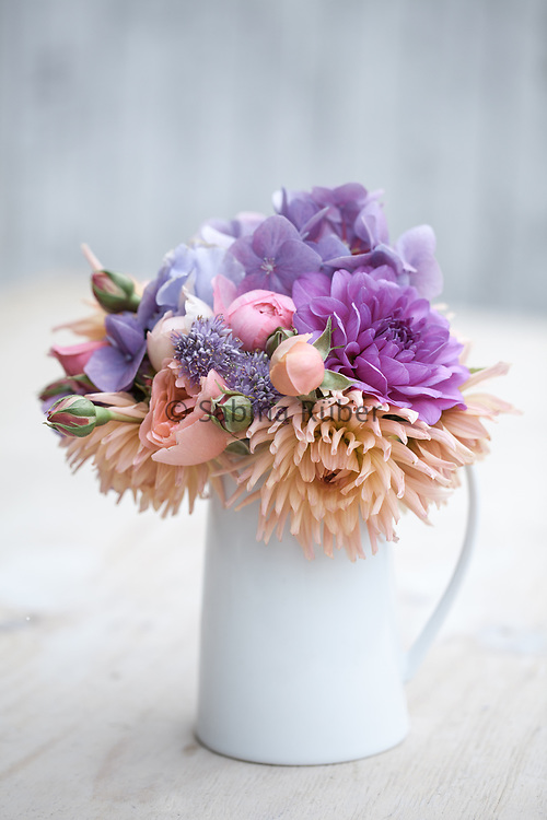 Flower arrangement with Dahlias, English Roses, Alliums & Hydrangea