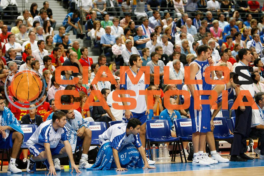 DESCRIZIONE : Madrid Spagna Spain Eurobasket Men 2007 Semi Finals Semifinali Spagna Grecia Spain Greece <br /> GIOCATORE : Team Grecia Greece<br /> SQUADRA : Grecia Greece<br /> EVENTO : Eurobasket Men 2007 Campionati Europei Uomini 2007 <br /> GARA : Spagna Grecia Spain Greece<br /> DATA : 15/09/2007 <br /> CATEGORIA : Delusione<br /> SPORT : Pallacanestro <br /> AUTORE : Ciamillo&amp;Castoria/M.Kulbis<br /> Galleria : Eurobasket Men 2007 <br /> Fotonotizia : Madrid Spagna Spain Eurobasket Men 2007 Semi Finals Semifinali Spagna Grecia Spain Greece  <br /> Predefinita :