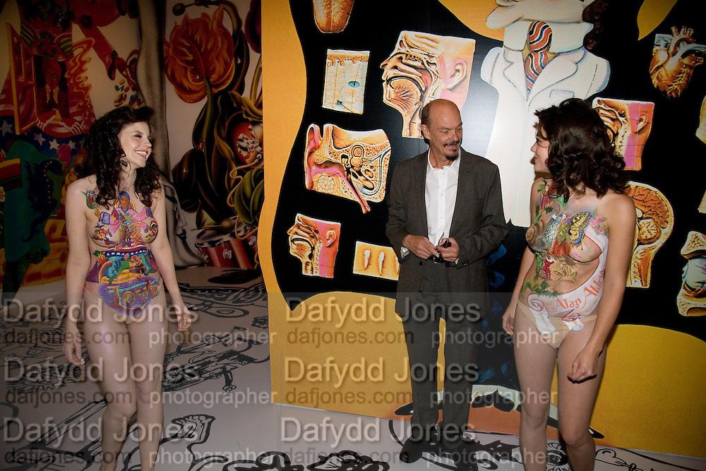 ALISON KANE; ALAN ALDRIDGE;  RACHEL HAYTON, Exhibition opening ' Alan Aldridge- The Man With Kaleidoscope Eyes' hosted by his daughter Saffron Aldridge. Design Museum. Shad Thames. London  SE1. *** Local Caption *** -DO NOT ARCHIVE -Copyright Photograph by Dafydd Jones. 248 Clapham Rd. London SW9 0PZ. Tel 0207 820 0771. www.dafjones.com