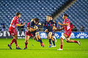 Luke Crosbie (#7) of Edinburgh Rugby runs at the Scarlets defence during the Guinness Pro 14 2019_20 match between Edinburgh Rugby and Scarlets at BT Murrayfield Stadium, Edinburgh, Scotland on 26 October 2019.