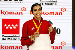 November 10, 2018 - Madrid, Madrid, Spain - Coban Merve (TUR) win the bronce medal and the third place of the tournament of Female Kumite -61 Kg during the Finals of Karate World Championship celebrates in Wizink Center, Madrid, Spain, on November 10th, 2018. (Credit Image: © AFP7 via ZUMA Wire)