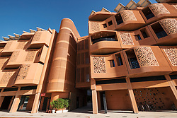 Modern student accommodation building at  Institute of Science and Technology at Masdar City in Abu Dhabi United Arab Emirates