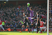 Watford goalkeeper, Costel Pantilimon (18) easily claiming ball during the The FA Cup Quarter Final match between Arsenal and Watford at the Emirates Stadium, London, England on 13 March 2016. Photo by Matthew Redman.