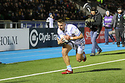 Cardiff  Blues winger Tom James (11) scores a try in the corner  during the Heineken Champions Cup match between Glasgow Warriors and Cardiff Blues at Scotstoun Stadium, Glasgow, Scotland on 13 January 2019.