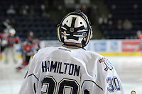 KELOWNA, CANADA, OCTOBER 22: Keith Hamilton #30 of the Victoria Royals looks upon the ice during warm up as  the Victoria Royals visited the Kelowna Rockets on October 22, 2011 at Prospera Place in Kelowna, British Columbia, Canada (Photo by Marissa Baecker/shootthebreeze.ca) *** Local Caption *** Keith Hamilton;