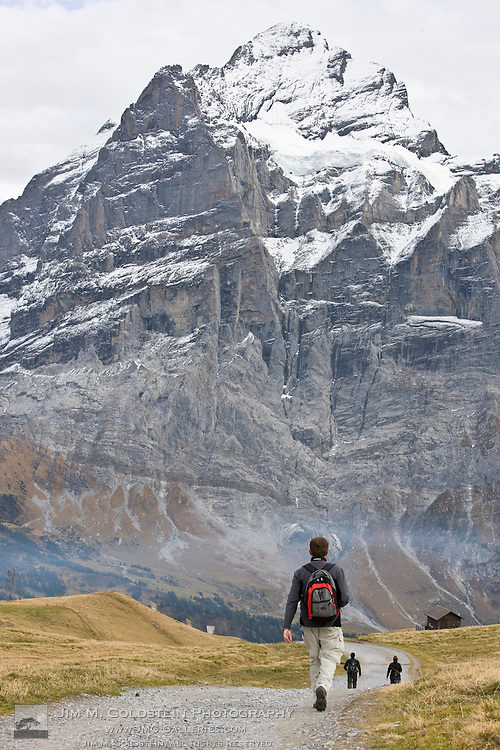 Hikers returning from a day hike to the top of First walk down a gravel path toward the Grindelwald-First lift station and the Wetterhorn - Switzerland