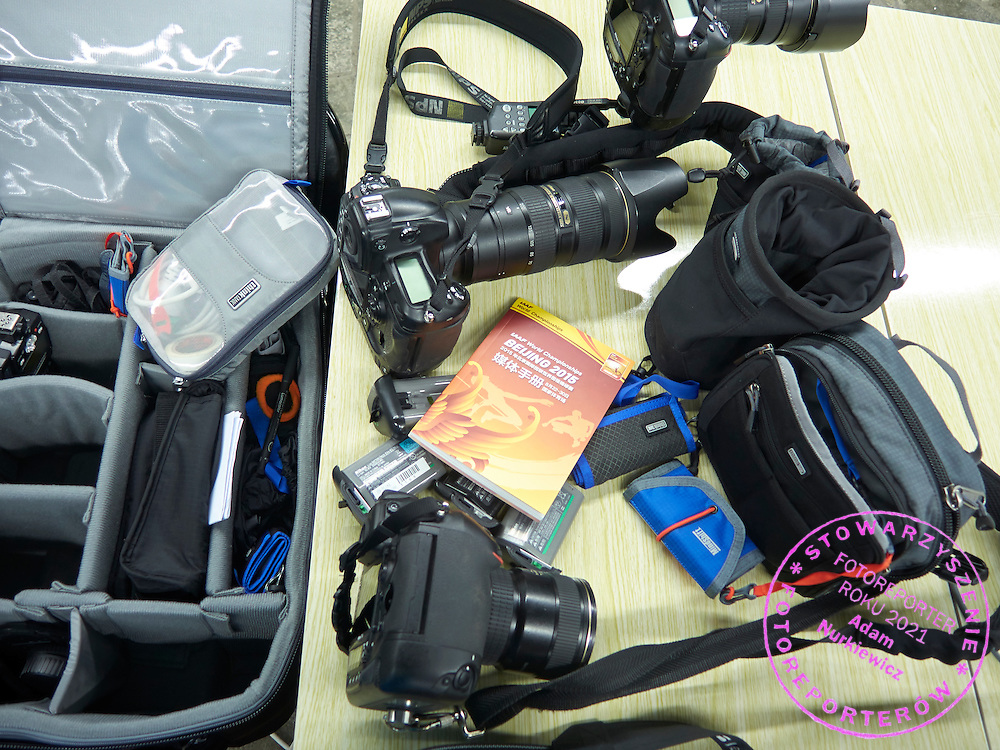 Think Tank Photo equipment during Day Fifth of the 15th IAAF World Athletics Championships Beijing 2015 at Bird's Nest National Stadium in Beijing, China.<br /> <br /> China, Beijing, August 26, 2015<br /> <br /> Picture also available in RAW (NEF) or TIFF format on special request.<br /> <br /> For editorial use only. Any commercial or promotional use requires permission.<br /> <br /> Adam Nurkiewicz declares that he has no rights to the image of people at the photographs of his authorship.<br /> <br /> <br /> Mandatory credit:<br /> Photo by &copy; Adam Nurkiewicz / Mediasport