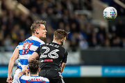 Fulham (26) Tomas Kalas, QPR (17) Matt Smith during the EFL Sky Bet Championship match between Queens Park Rangers and Fulham at the Loftus Road Stadium, London, England on 29 September 2017. Photo by Sebastian Frej.