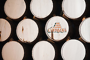 Barrels of 100% Blue Agave tequila aging at La Cofradia distillery in Tequila, Mexico of Jalisco.