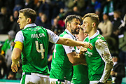 Florian Kamberi (#22) of Hibernian celebrates Hibernian's second goal (2-1) with Paul Hanlon (#4) of Hibernian during the Ladbrokes Scottish Premiership match between Hibernian and Hamilton Academical FC at Easter Road, Edinburgh, Scotland on 3 April 2018. Picture by Craig Doyle.