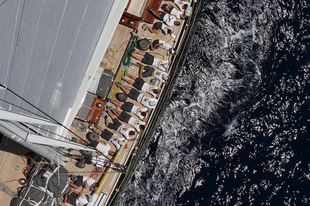 SPAIN, Palma. 21st June 2013. Superyacht Cup. J Class. Race three, coastal race. Hanuman.