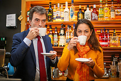 © Licensed to London News Pictures. 21/11/2019. London, UK. Liberal Democrat Shadow Brexit Secretary, TOM BRAKE and London Mayoral candidate, SIOBHAN BENITA drinks coffees as they visitKaramel Cafe - a creative regeneration charity in Hornsey and WoodGreen, north London. Photo credit: Dinendra Haria/LNP
