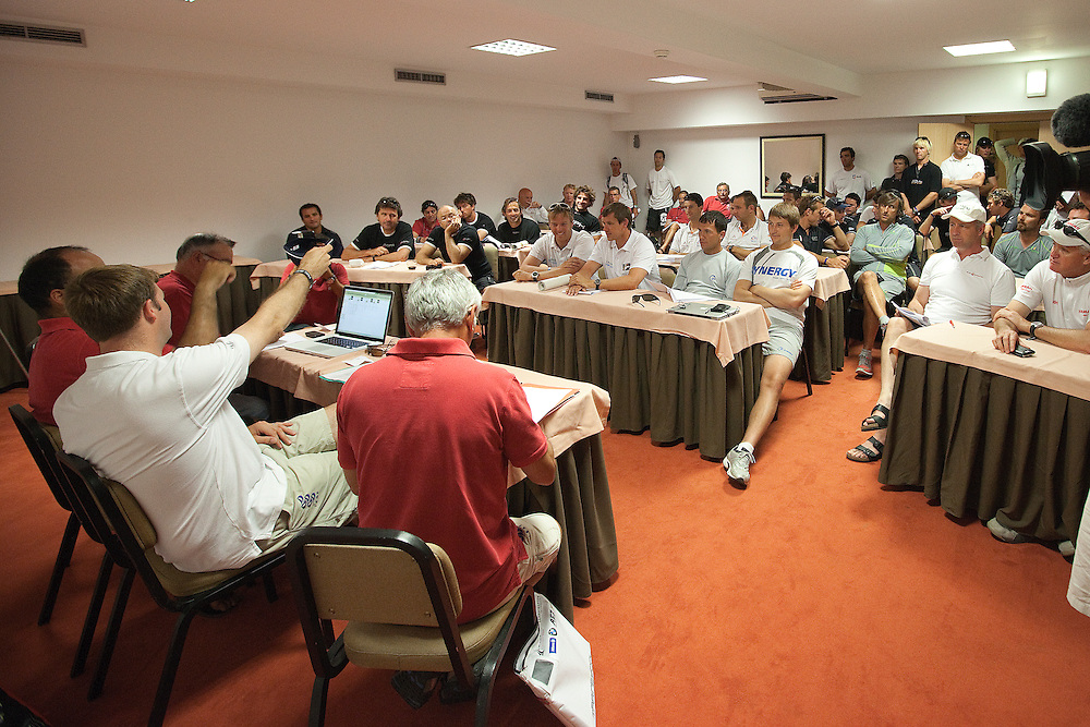 Skippers briefing. Portimao Portugal Match Cup 2010. World Match Racing Tour. Portimao, Portugal. 23 June 2010. Photo: Gareth Cooke/Subzero Images