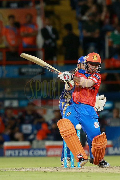 Ishan Kishan of GL plays a shot during match 35 of the Vivo 2017 Indian Premier League between the Gujarat Lions and the Mumbai Indians  held at the Saurashtra Cricket Association Stadium in Rajkot, India on the 29th April 2017<br /> <br /> Photo by Rahul Gulati - Sportzpics - IPL