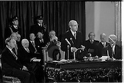 Inaugeration of Cearbhall O'Dalaigh as President  (H77).1974..19.12.1974..12.19.1974..19th December 1974..Following the sudden death of President Erskine Childers, Mr Cearbhall O'Dalaigh was nominated by The Fianna Fail party as its candidate to replace him. The Fine Gael /Labour coalition government did not oppose the nomination and Mr O'Dalaigh was elected un-opposed on a joint party agreement...Photographed, newly inaugerated President Cearbhall O'Dalaigh reads his speech to the assembled dignitaries within Dublin Castle.
