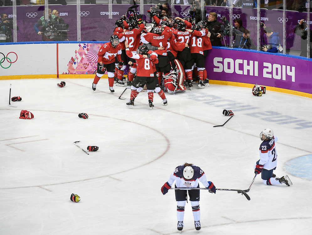 Sochi 2014 Winter Olympic Games: Women's Hockey-Gold medal game, Canada vs. USA in overtime action.