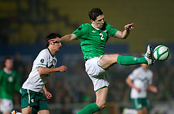 Andraz Kirm of Slovenia vs Craig Cathcart of Northern Ireland during EURO 2012 Quaifications game between National teams of Slovenia and Northern Ireland, on March 29, 2011, in Windsor Park Stadium, Belfast, Northern Ireland, United Kingdom. (Photo by Vid Ponikvar / Sportida)