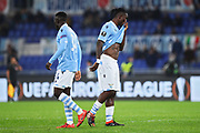 Bobby Adekanye and Bastos of Lazio react during the UEFA Europa League, Group E football match between SS Lazio and CFR Cluj on November 28, 2019 at Stadio Olimpico in Rome, Italy - Photo Federico Proietti / ProSportsImages / DPPI