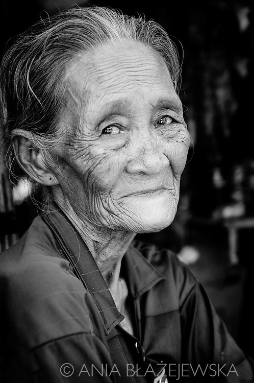 Phillipines, Palawan. Black and white portrait of elderly Filipino woman from Puerto Princessa.