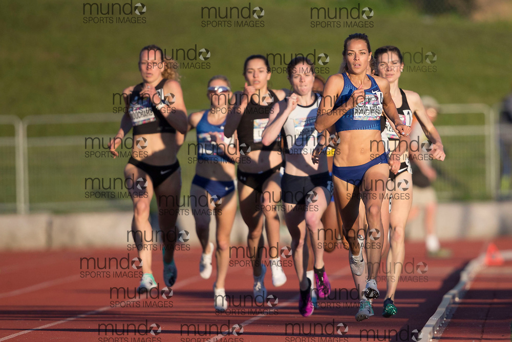 (Guelph, Canada---07 June 2019) Melissa Bishop-Nriagu competing in the 800m at the 2019 Speed River Inferno Track and Field Festival held at Alumni Stadium at the University of Guelph. This race was Bishop-Nriagu's first 800m after a two year break to have a baby. Copyright image 2019 Sean W Burges / Mundo Sport Images