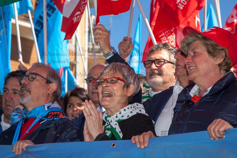 Annamaria Furlan, segretario nazionale CISL, a Portella della Ginestra per il 70° anniversario della strage.