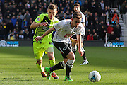 Derby County midfielder Jamie Hanson defends the ball during the Sky Bet Championship match between Derby County and Huddersfield Town at the iPro Stadium, Derby, England on 5 March 2016. Photo by Aaron Lupton.