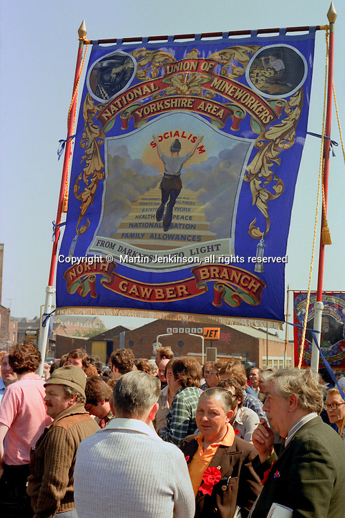 North Gawber Branch NUM banner at the start of a march against anti trade union legislation. Sheffield 1980.