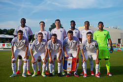 AUBAGNE, FRANCE - Tuesday, May 30, 2017: France players line-up for a team group photograph before during the Toulon Tournament Group B match between Wales and France at the Stade de Lattre-de-Tassigny. Back row L-R: Jean-Philippe Mateta, xxxx, Jeremy Livolant, Abdoulaye Sissako, Florent Aye, goalkeeper Dimitry Bertaud. Front row L-R: xxxx, xxxx, Lorenzo Callegari, xxxx, captain Alec Georgen.  (Pic by Laura Malkin/Propaganda)