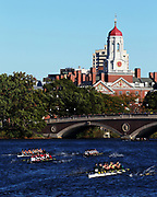 A general view of the Men's Collegiate Eights race in front of the Anderson Bridge during Day 2 of The 52nd Head of the Charles Regatta on October 23, 2016 in Cambridge, Massachusetts.