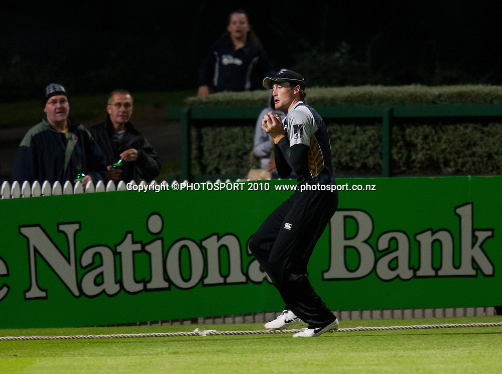 Martin Guptill catches Umar Gul during New Zealand Black Caps v Pakistan, Match 2, won by NZ by 39 runs. Twenty 20 Cricket match at Seddon Park, Hamilton, New Zealand. Tuesday 28 December 2010. . Photo: Stephen Barker/PHOTOSPORT