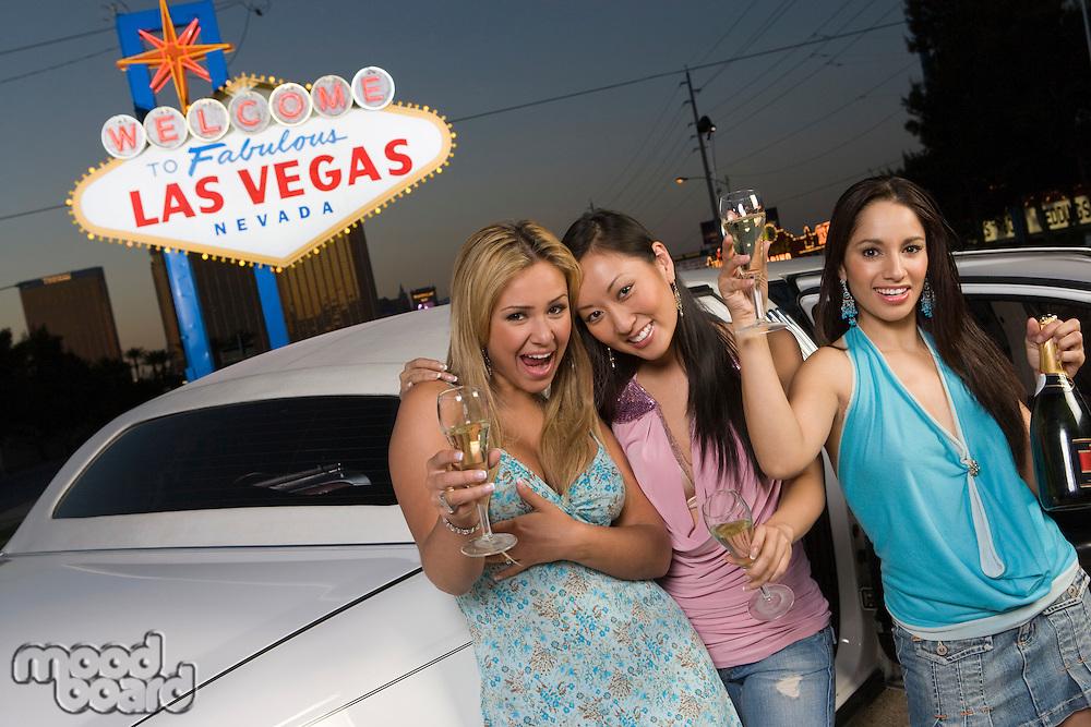 Three women having fun in Las Vegas, Nevada, USA