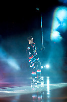 KELOWNA, CANADA - SEPTEMBER 22: Konrad Belcourt #5 of the Kelowna Rockets enters the ice for home opener against the Kamloops Blazers on September 22, 2017 at Prospera Place in Kelowna, British Columbia, Canada.  (Photo by Marissa Baecker/Shoot the Breeze)  *** Local Caption ***
