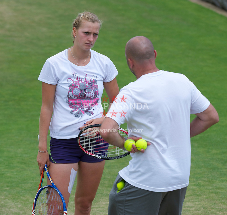 LONDON, ENGLAND - Friday, July 1, 2011: Petra Kvitova (CZE) practices with her coach David Kotyza ahead of her first Grand Slam Final match on day eleven of the Wimbledon Lawn Tennis Championships at the All England Lawn Tennis and Croquet Club. (Pic by David Rawcliffe/Propaganda)