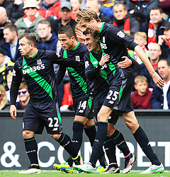 Bojan Krkic of Stoke City celebrates - Mandatory by-line: Matt McNulty/JMP - 10/04/2016 - FOOTBALL - Anfield - Liverpool, England - Liverpool v Stoke City - Barclays Premier League