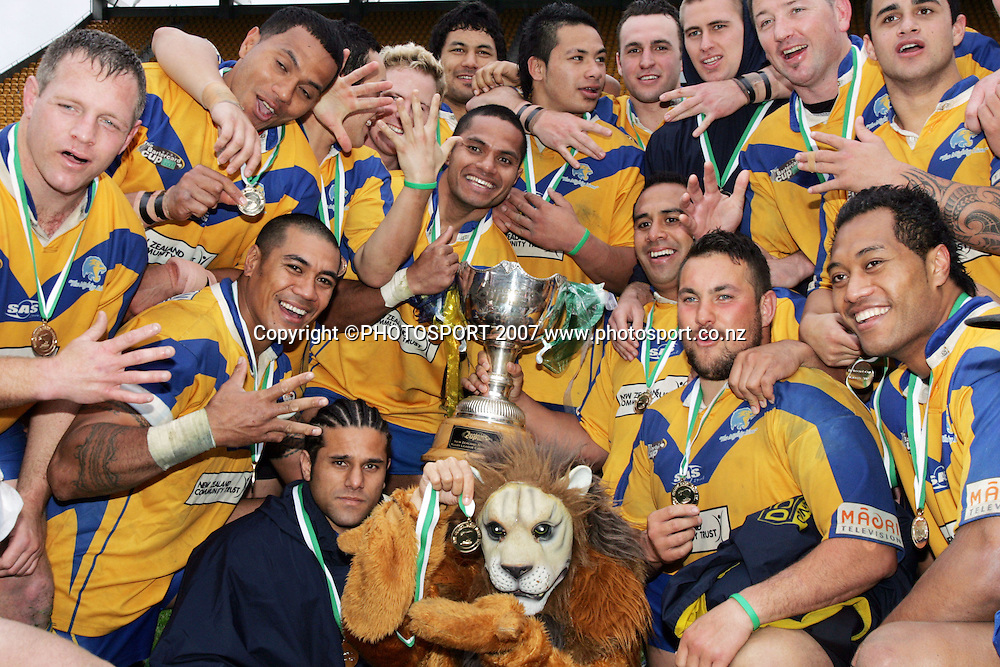 Auckland Lions celebrations. Auckland Lions v Harbour League. Bartercard Cup Grand Final. Mt Smart Stadium. Sunday 9 September 2007. Photo: Hagen Hopkins/PHOTOSPORT